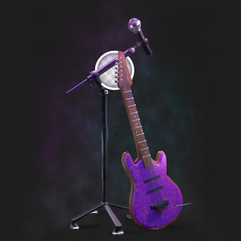 Concert stage with microphone and guitar.