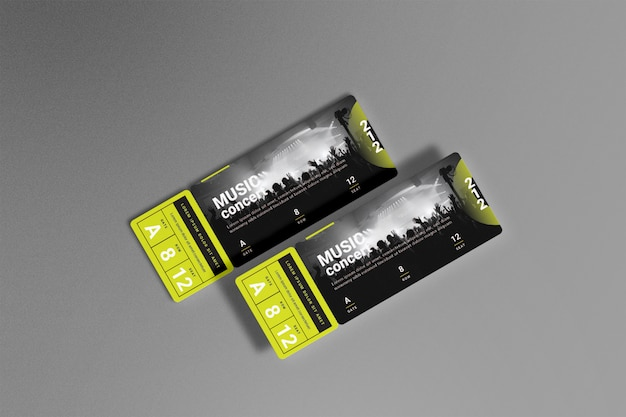 Concert ticket mockup top view