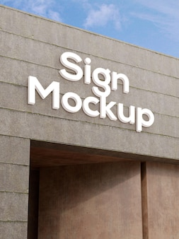 Mockup effetto logo facciata in cemento