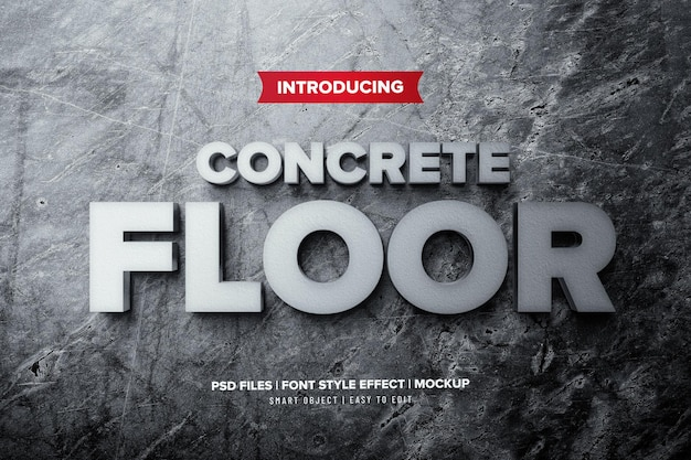 Concrete floor 3d premium text effect
