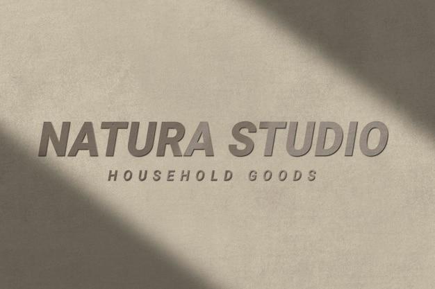 Бетонный текстурированный шаблон логотипа psd для бизнеса товаров для дома