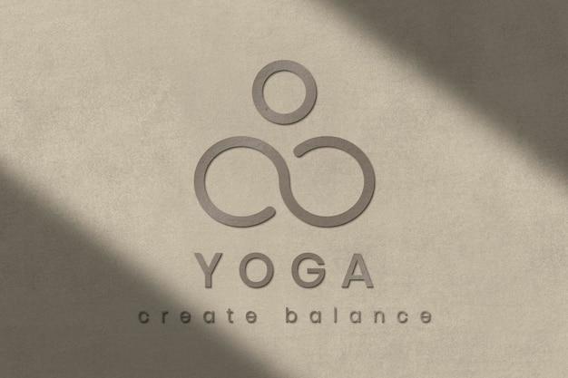 Concrete textured logo template psd for yoga studio business