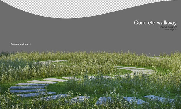잔디밭에서 콘크리트 산책로