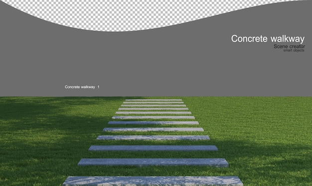 Concrete walkway in the lawn