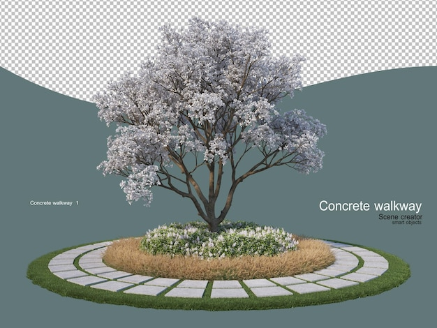 Concrete walkway a variety of styles
