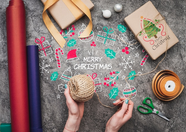 Вид сверху рождественского макета conept gits