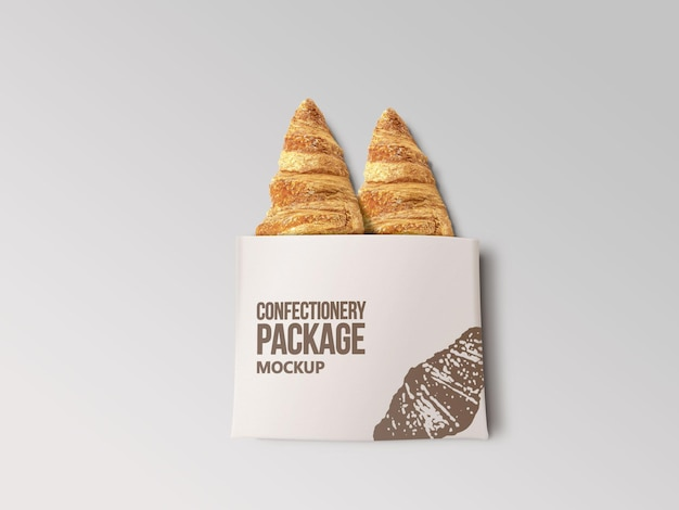 Confectionery paper food package mockup