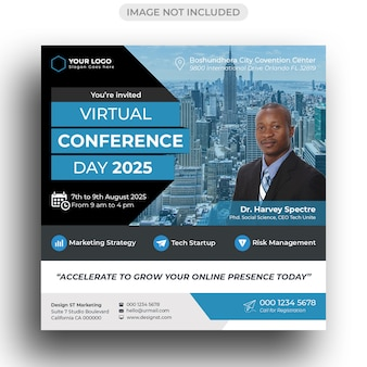 Conference flyer social media post template