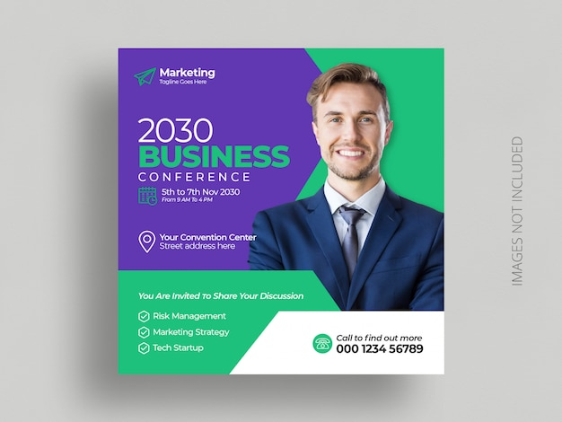 Conference social media post marketing business  square flyer template