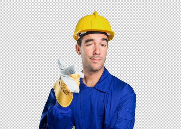 Confident worker pointing on white background