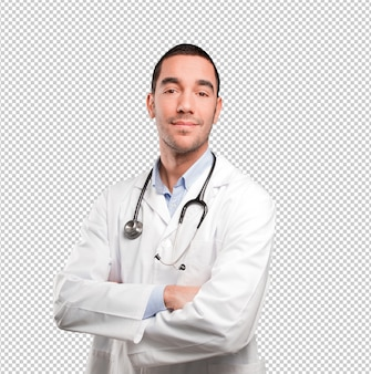Confident young doctor posing