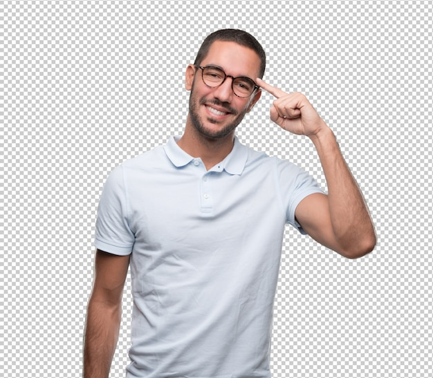 Confident young man with a gesture of having an idea