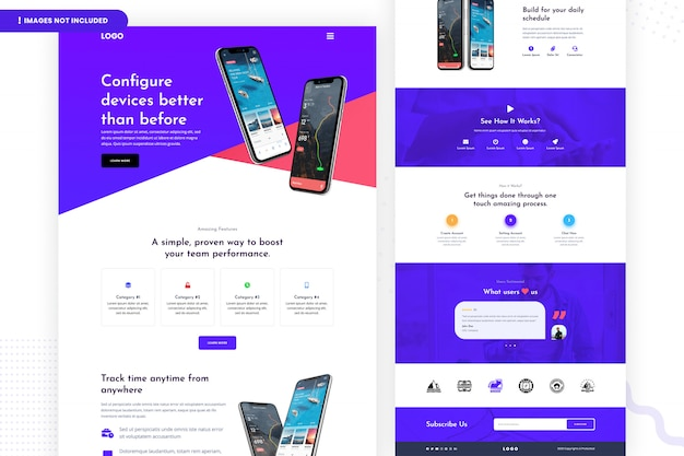 Configure device landing page template