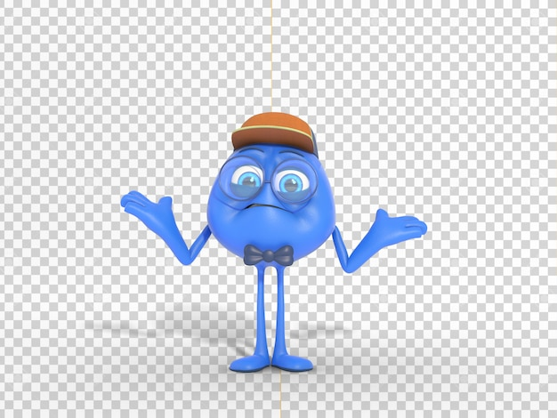 Confused funny 3d character illustration with transparent background