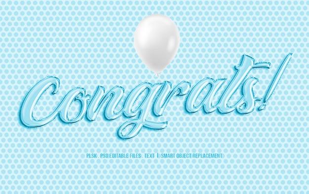 Congrats! 3d текстовый макет с воздушным шаром