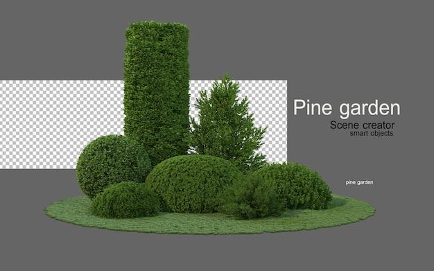 다양한 모양의 침엽수 정원 프리미엄 PSD 파일