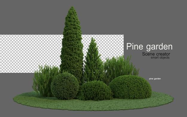 다양한 모양의 침엽수 정원