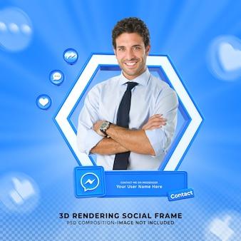 Messenger 소셜 미디어에서 나를 연결하십시오. 프레임이 있는 3d 디자인 렌더링 아이콘 배지 하단