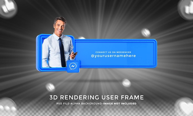 Подключите меня в социальных сетях messenger в нижней трети 3d-дизайна, визуализируйте значок значка с рамкой