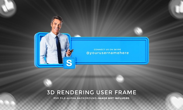 Подключите меня в социальных сетях skype в нижней трети 3d-дизайна, визуализируйте значок значка с рамкой