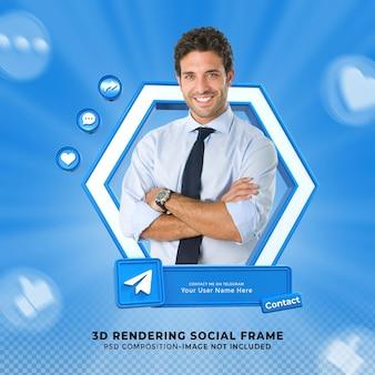 Подключите меня в социальных сетях telegram в нижней трети 3d-дизайна, визуализируйте значок значка с рамкой