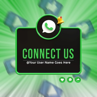 Connect us on whatsapp social media lower third 3d design render icon badge