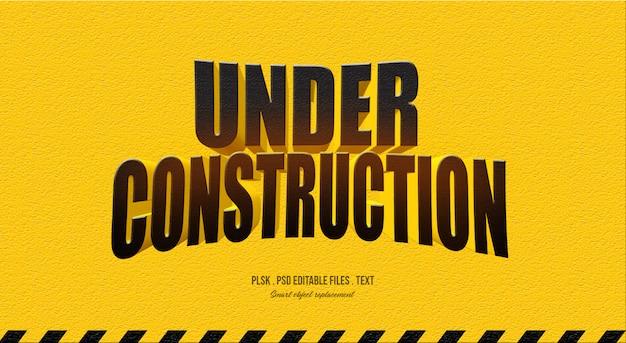 Under construction 3d text style effect
