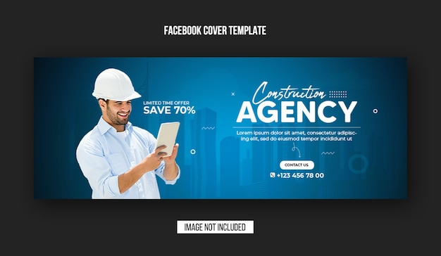 Construction agency facebook cover and web banner template design