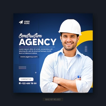 Construction agency social media post or web banner or square flyer template