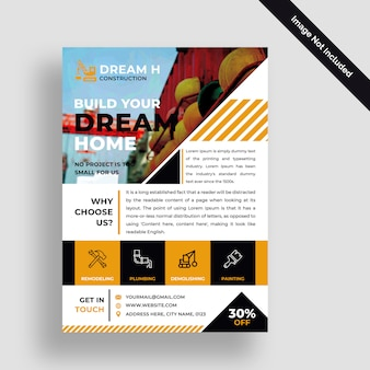 Строительный бизнес флаер дизайн psd шаблон