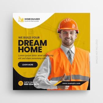 Construction handyman home repair flyer social media post amp web banner
