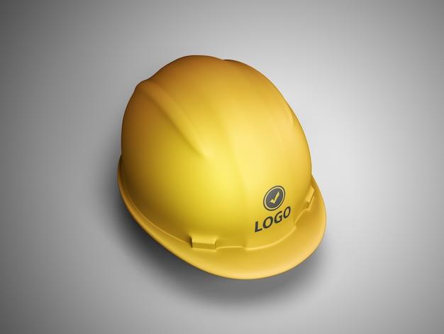 建設用ヘルメットのロゴのモックアップ