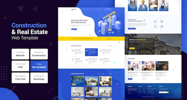 Construction industry & real estate business web template