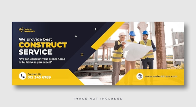 Construction service social media cover web banner template
