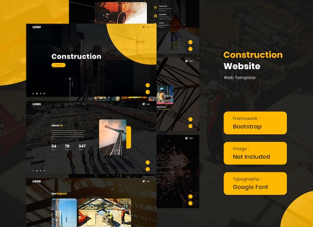 Construction website in dark mode and full screen
