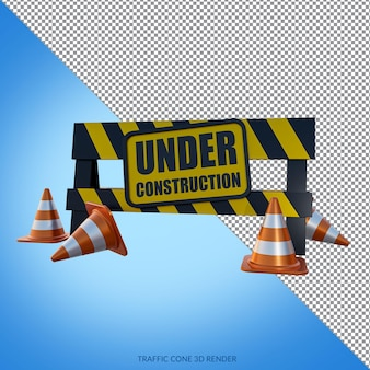 Under construction with traffic cones 3d render