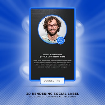 Свяжитесь со мной в социальных сетях messenger. нижняя третья третья часть 3d визуализации. профиль значка баннера.