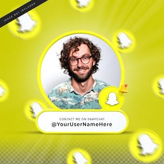 Свяжитесь со мной в социальных сетях snapchat, нижняя треть 3d-дизайн визуализирует профиль значка баннера