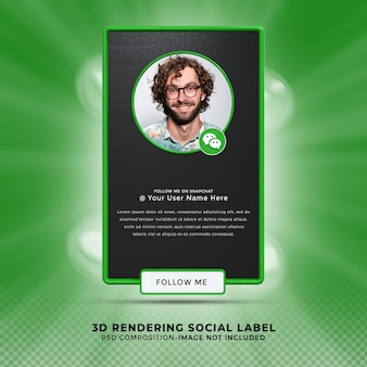Wechat 소셜 미디어에서 저에게 연락하십시오. 낮은 세 번째 3d 디자인 렌더링 배너 아이콘 프로필