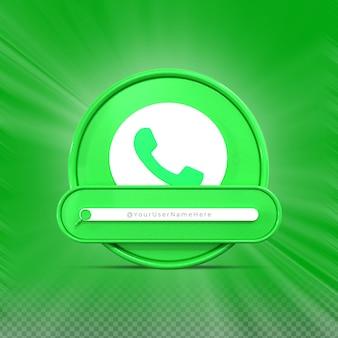 Свяжитесь со мной в социальных сетях whatsapp профиль значка баннера 3d рендеринг нижней трети