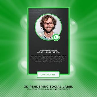 Свяжитесь со мной в социальных сетях whatsapp. нижняя третья третья часть 3d визуализации. профиль значка баннера.