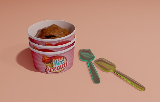 Container of chocolate ice cream with plastic spoons