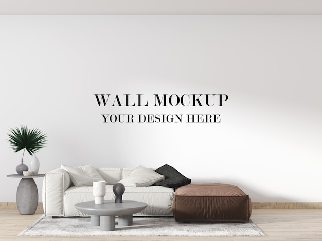 Contemporary apartment wall mockup with white and brown sofa