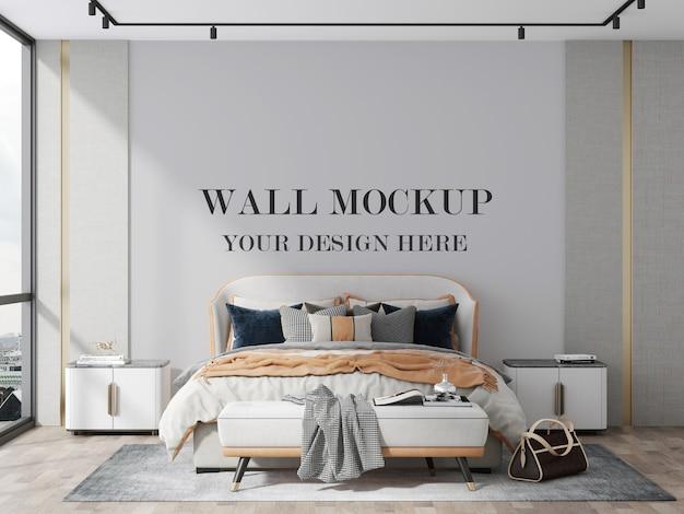 あなたのデザインの3dレンダリングモックアップのための現代的な寝室の空の壁