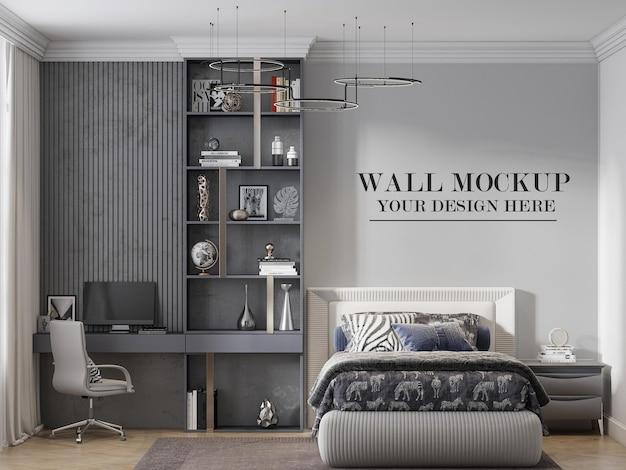 Contemporary bedroom wall mockup in 3d scene