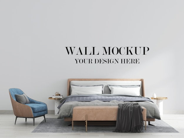 Contemporary bedroom wall mockup