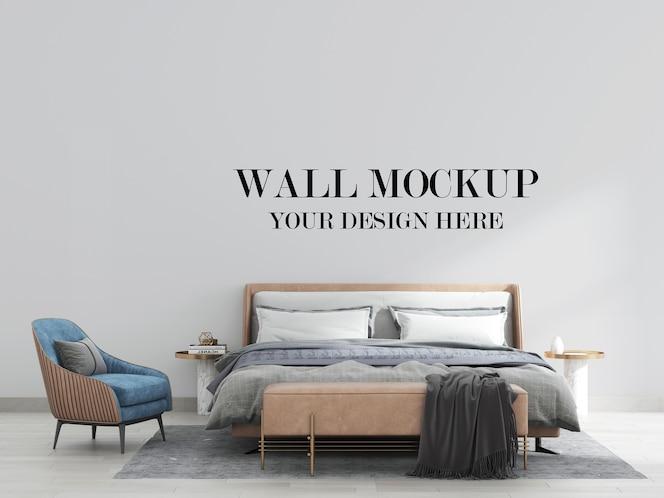 Contemporary bedroom wall mockup