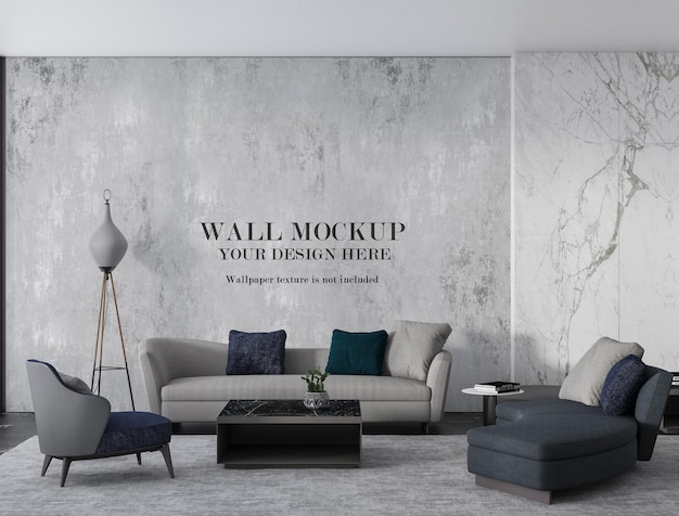 Contemporary lobby wall mockup with minimalist furniture
