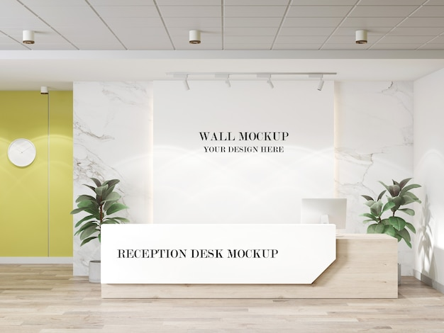 Contemporary office reception desk and wall mockup