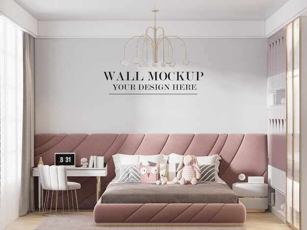 Contemporary young girl bedroom wall mockup